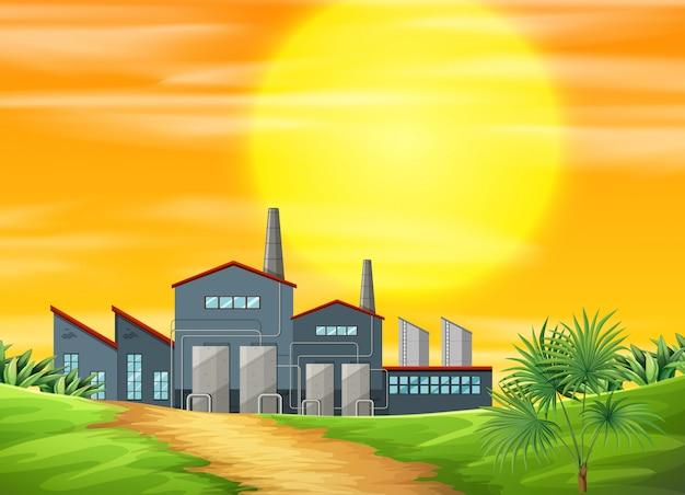 Een fabriek en landelijke scène