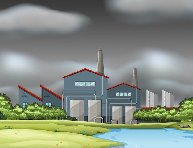 Een fabrieksscène in bewolkte dag