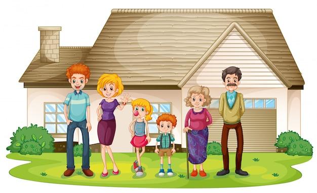 Een familie buiten hun grote huis