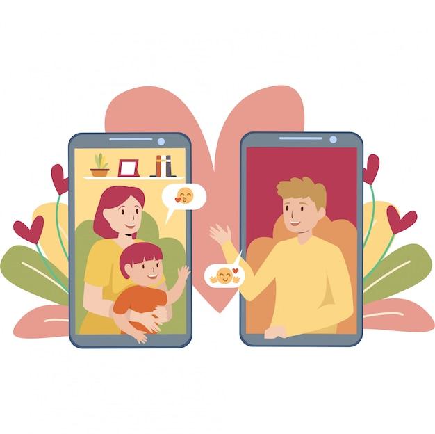 Een familie die videogesprek samen illustratie doet