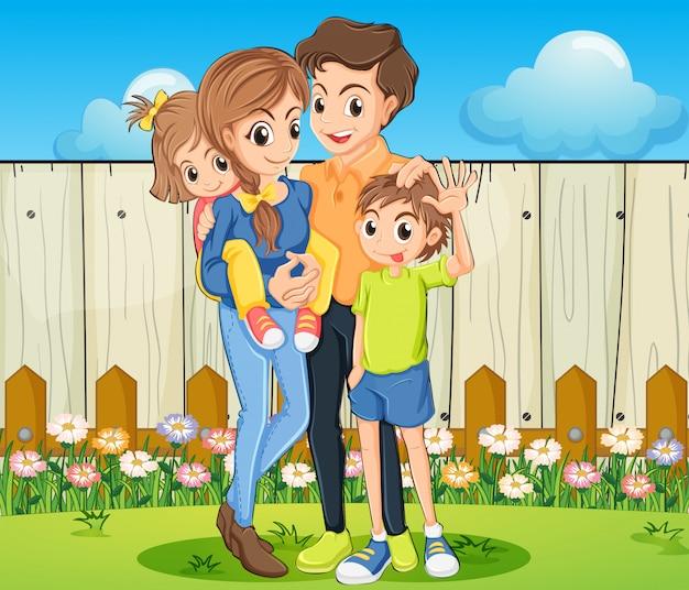 Een familie in de achtertuin met een houten hek