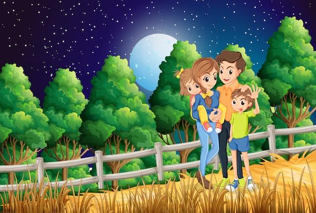 Een familie in het bos