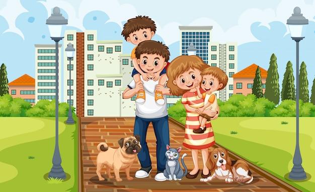 Een familie in het park