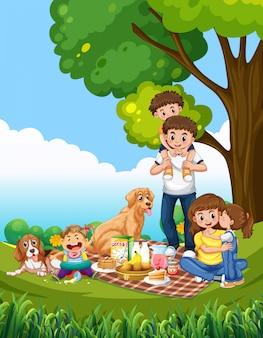 Een familie picknickscène