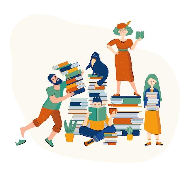 Een familie van vader, moeder, dochter en zoon die boeken lezen