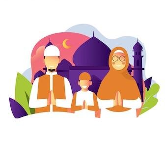 Een familie viert een ramadan eid mubarak-dag