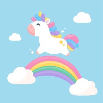 Een fantasie-eenhoorn die met plezier op een pastel regenboog springt