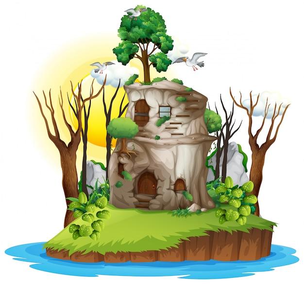 Een fantasiehuis op het eiland