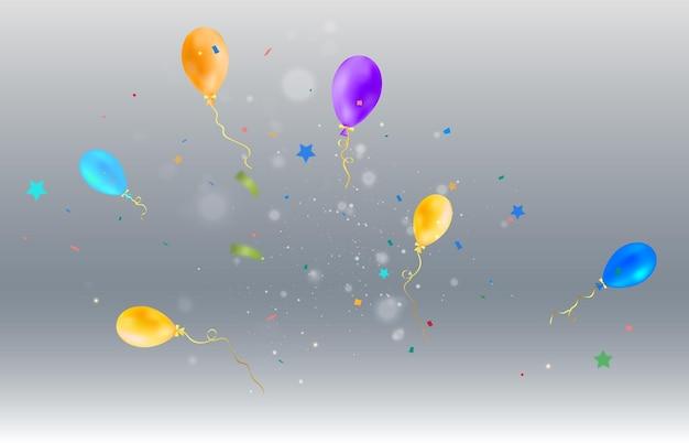 Een feestelijke illustratie met ballonnen en vallende snoepjes