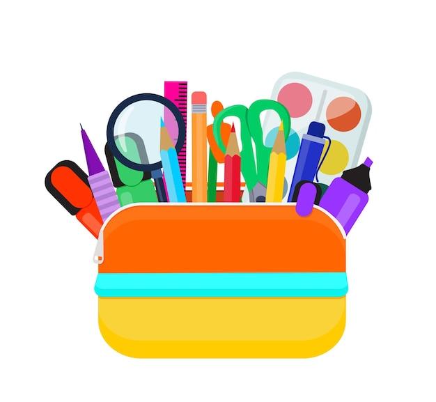 Een felgekleurde schooletui is gevuld met schoolspullen. vector