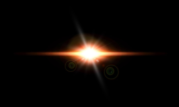 Een felle lichtflits flikkert op een transparante achtergrond, voor illustraties en achtergronden.