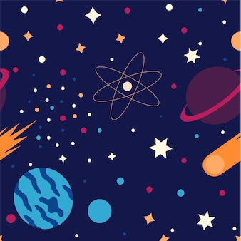 Een flatstyle patroon met een ruimtethema verken ruimteasteroïden, kometen en planeten