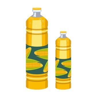 Een fles maïsolie plastic transparante verpakking met gele vloeibare bron van vitamines saladedressing