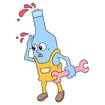 Een fles van de beeldverhaalsaus draagt een moersleutelhulpmiddel om een voertuighersteller te zijn, vectorillustratieart. doodle pictogram afbeelding kawaii.