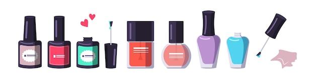 Een flesje nagellak in verschillende vormen en kleuren. manicure hulpmiddelen. zorg voor de gezondheid van handen en nagels. schoonheidssalon pictogrammen. platte vectorillustratie.