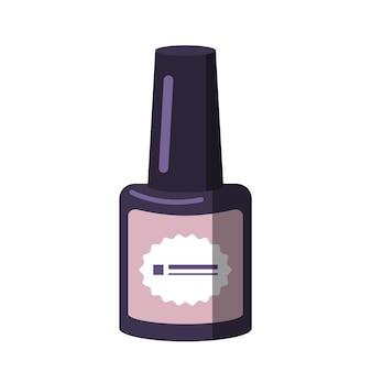 Een flesje nagellak. manicure hulpmiddelen. zorg voor de gezondheid van handen en nagels. schoonheidssalon pictogrammen. platte vectorillustratie.