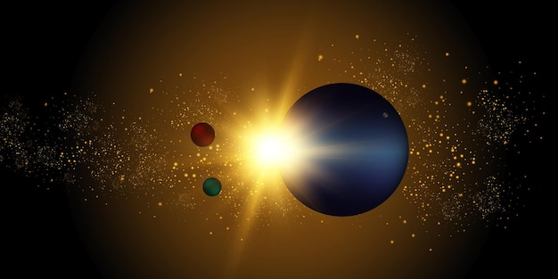 Een flits van de zon in de galactische ruimte