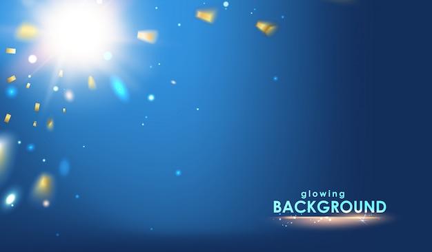 Een flits van licht en confetti op een hemelsblauwe achtergrond.