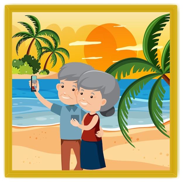 Een foto van een oud stel selfie samen op het strand
