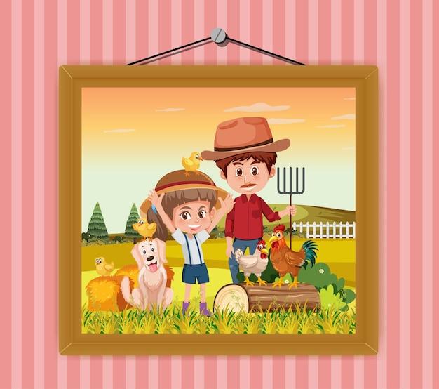 Een foto van vader en dochter in de boerderijscène die aan de muur hangt