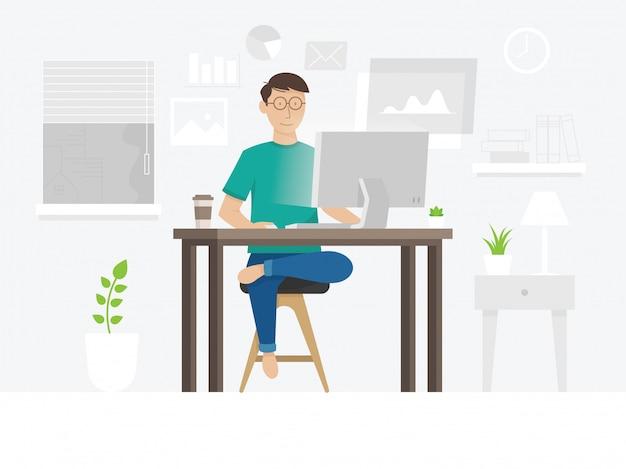 Een freelancerskerel die thuis werken