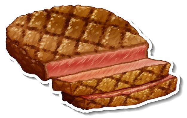 Een gebakken biefstuk sticker op witte achtergrond