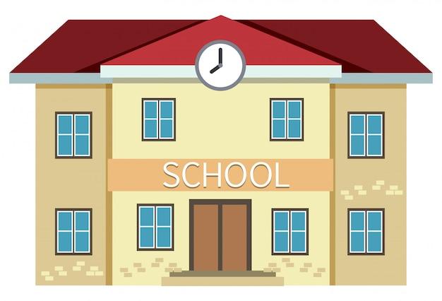 Een geel schoolgebouw