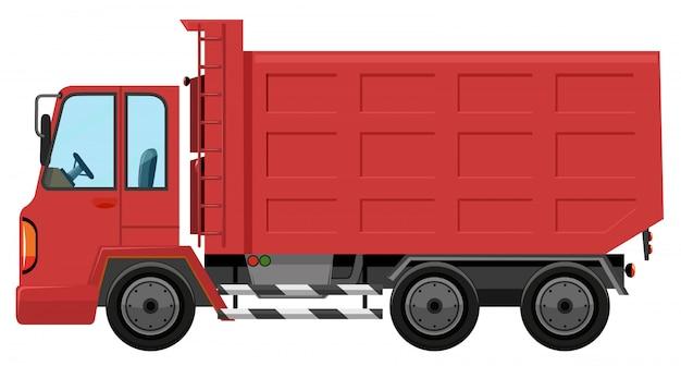 Een geïsoleerde rode vrachtwagen