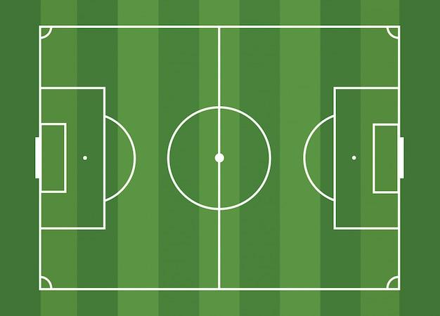 Een geïsoleerde voetbalveld voor een balspel op een gestreepte groene achtergrond. een competitieve sport op het gazon. stadion met markeringen.