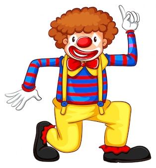 Een gekleurde tekening van een clown