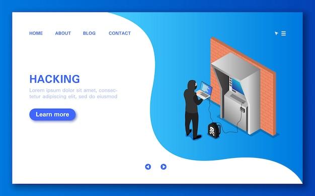 Een geldautomaat hacken. concept banner in vlakke isometrische weergave.