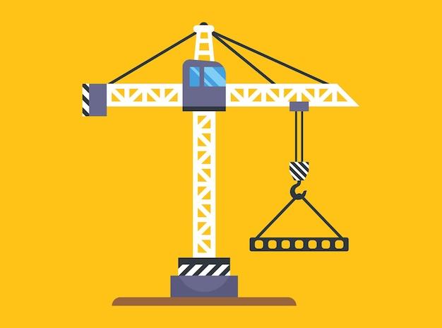 Een gele bouwkraan heft een last op aan een haak. platte vectorillustratie.