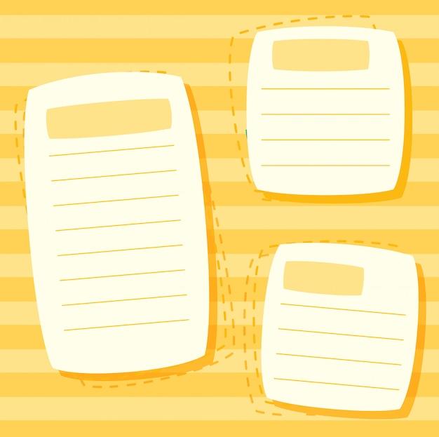 Een gele notitie sjabloon