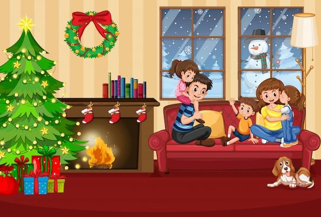 Een gelukkig gezin in huis met kerstmis