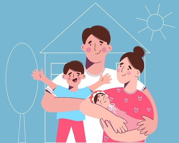 Een gelukkig gezin met twee kinderen op de achtergrond is een nieuw huis. een vrouw heeft een pasgeboren baby in haar armen. de familie wil een nieuw huis kopen. illustratie in vlakke stijl.