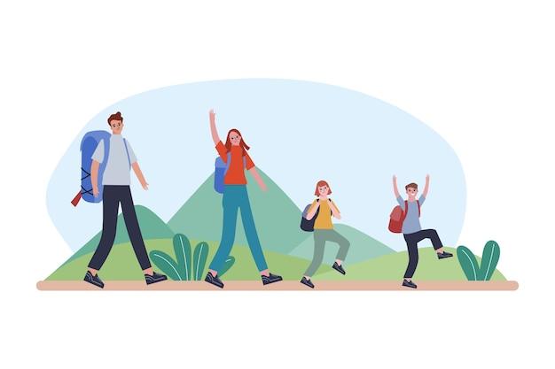 Een gelukkig gezin wandelt in de bergen