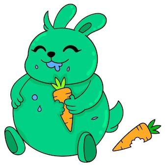 Een gelukkig groen vet konijntje dat een wortel eet, vectorillustratieart. doodle pictogram afbeelding kawaii.