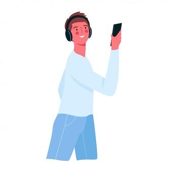 Een gelukkig man met een telefoon.