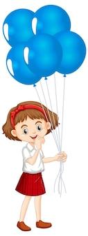 Een gelukkig meisje blauwe ballonnen