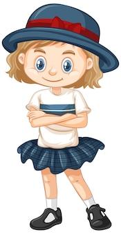 Een gelukkig meisje in grijze rok