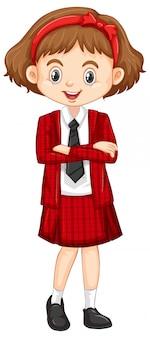 Een gelukkig meisje in rood pak
