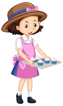 Een gelukkig meisje met cupcakes op dienblad