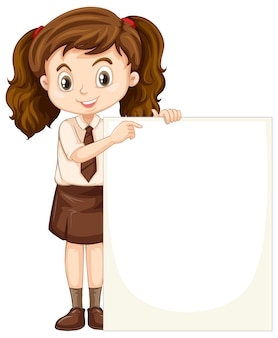 Een gelukkig meisje met een leeg bord