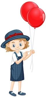 Een gelukkig meisje met rode ballonnen