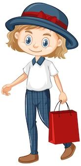 Een gelukkig meisje met rode papieren zak