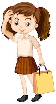 Een gelukkig meisje papieren zak