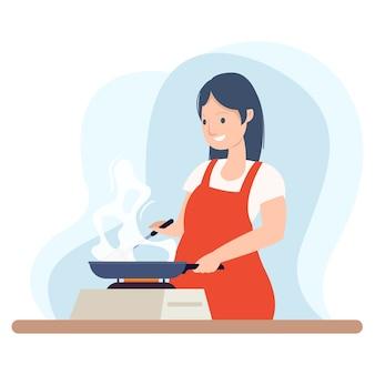 Een gelukkige chef-kok kookt een soep om aan klanten te serveren