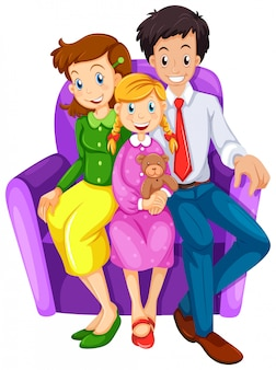 Een gelukkige familie zittend op een bank