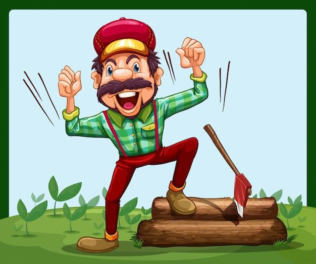 Een gelukkige houthakker die op een logboek met bijl stapt