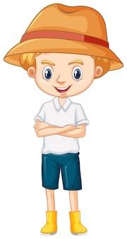 Een gelukkige jongen in bruine hoed en laarzen